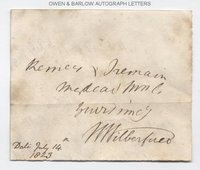 WILLIAM WILBERFORCE (1759-1833) Autograph Signature